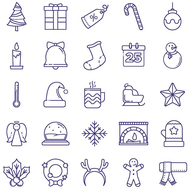 Веселые рождественские иконки Premium векторы