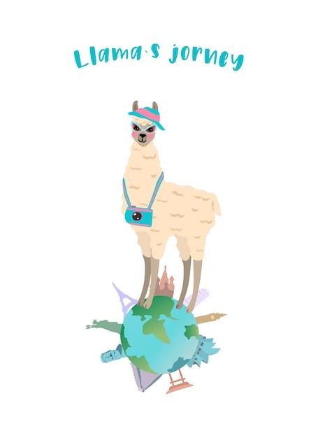 かわいいラマ旅行者とのベクトル図 Premiumベクター