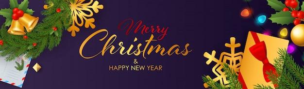 С новым годом и рождеством дизайн баннера с подарками Бесплатные векторы