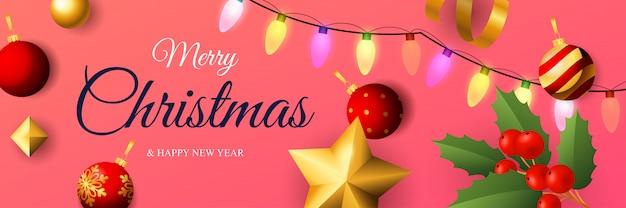 Счастливого рождества дизайн баннера с красочными огнями Бесплатные векторы