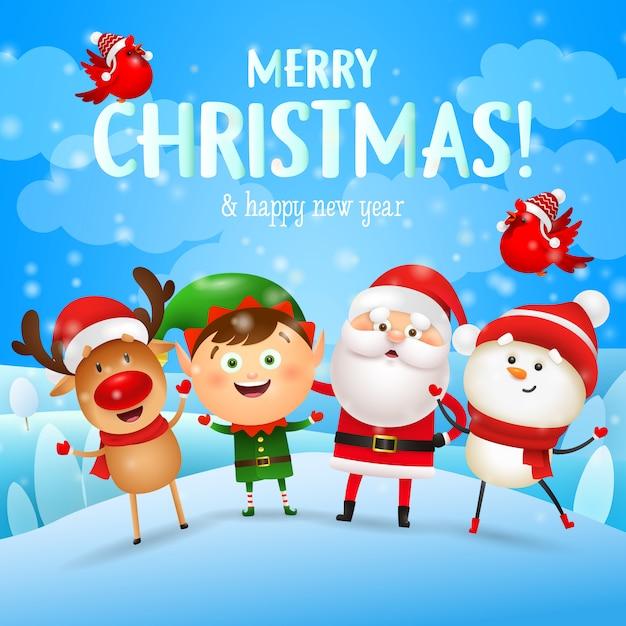 Веселая рождественская открытка с рождественскими персонажами Бесплатные векторы