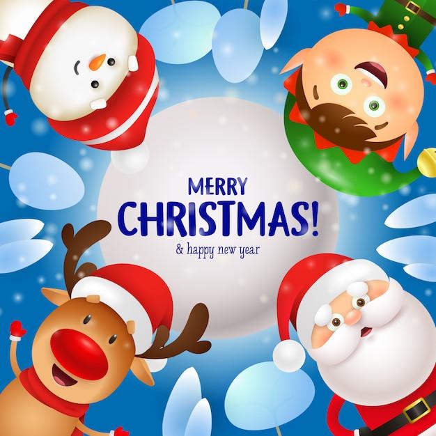 サンタクロース、トナカイ、エルフ、雪だるまとメリークリスマスのグリーティングカード 無料ベクター