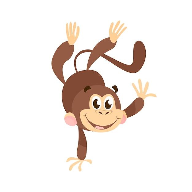 Радостный мультфильм обезьяна делает стойку на руках Бесплатные векторы