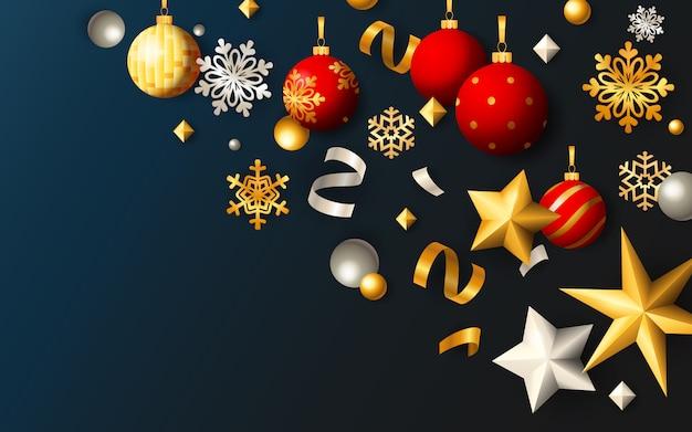 Рождественский праздничный баннер с шарами и звездами на синем фоне Бесплатные векторы