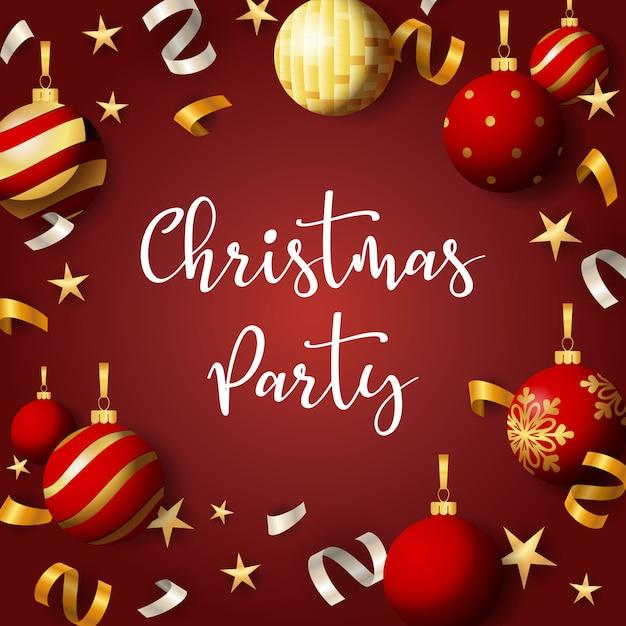 クリスマスパーティーバナーボールと赤の背景にリボン 無料ベクター