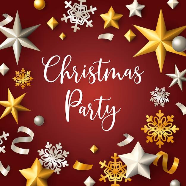 星と赤の背景にフレーククリスマスパーティーバナー 無料ベクター