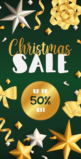 ゴールデンリボンとクリスマスセールのチラシデザイン 無料ベクター