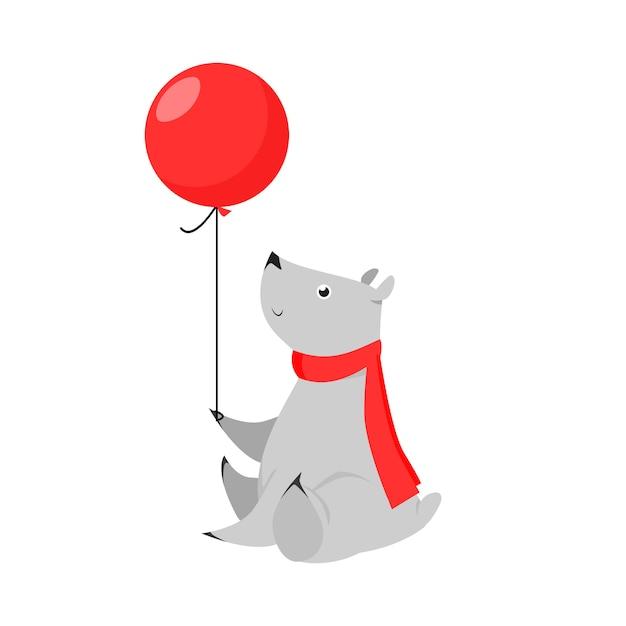 気球を保持しているかわいい灰色のクマ 無料ベクター