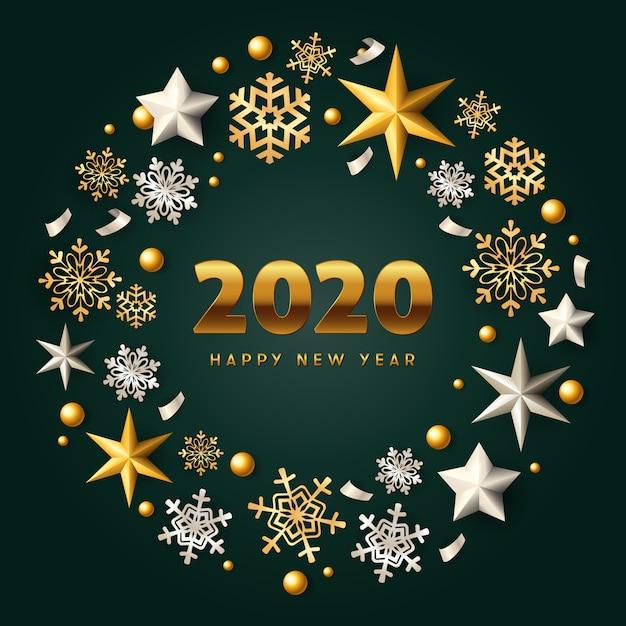 С новым годом золотой и серебряный рождественский венок на зеленом фоне Бесплатные векторы