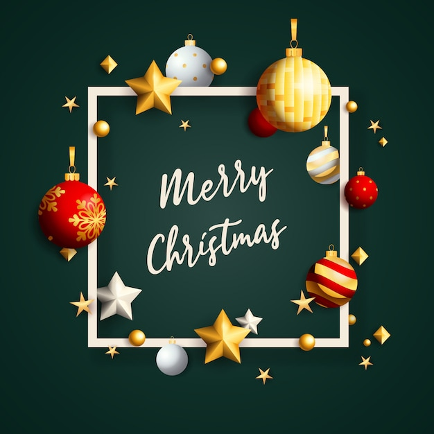 Счастливого рождества баннер в рамке с шарами на зеленом фоне Бесплатные векторы