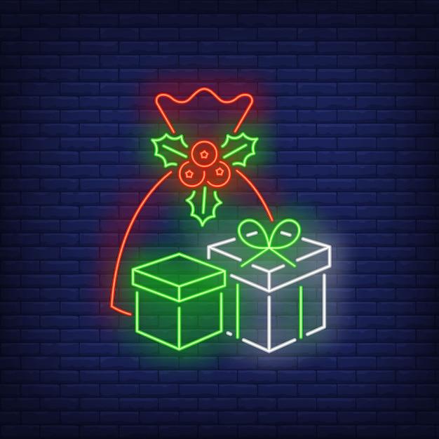 ネオンスタイルのクリスマスプレゼント 無料ベクター