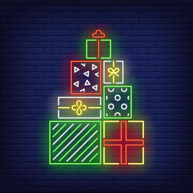 Куча подарков в неоновом стиле Бесплатные векторы