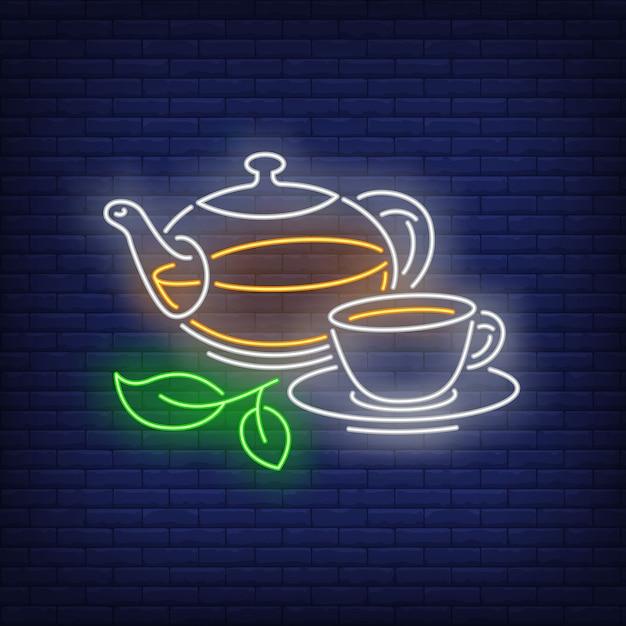 Чайник и чашка в неоновом стиле Бесплатные векторы
