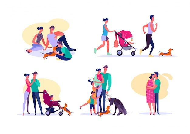 Набор счастливых семей Бесплатные векторы