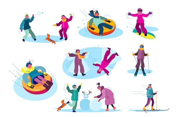 冬のゲームをプレイする人々のセット 無料ベクター