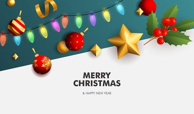 Счастливого рождества баннер с гирляндой на белом и синем фоне Бесплатные векторы