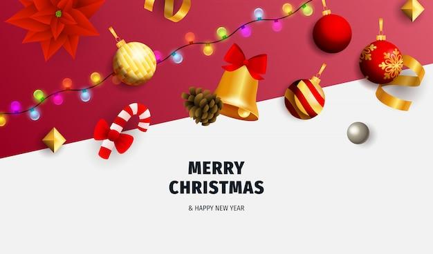 Счастливого рождества баннер с гирляндой на белом и красном фоне Бесплатные векторы