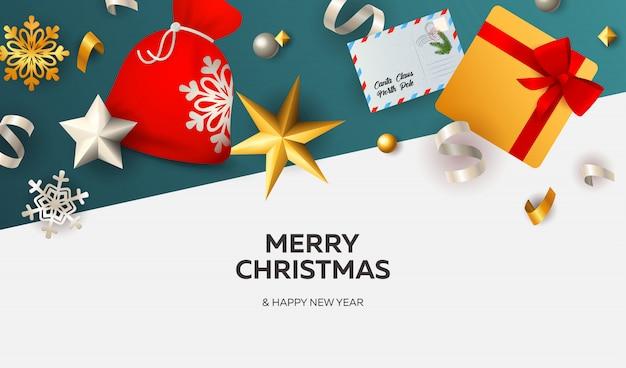 白と青の地面にリボンでメリークリスマスバナー 無料ベクター