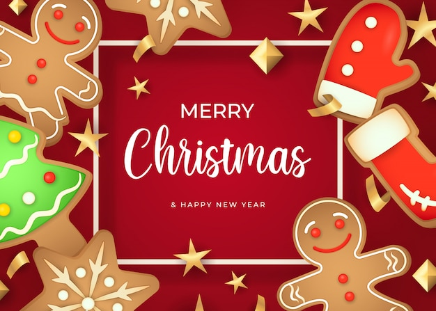 メリークリスマスレタリングとジンジャーブレッドクッキー 無料ベクター