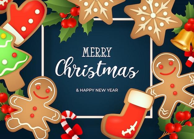 メリークリスマスレタリング、ジンジャーブレッドクッキー、ヤドリギ 無料ベクター