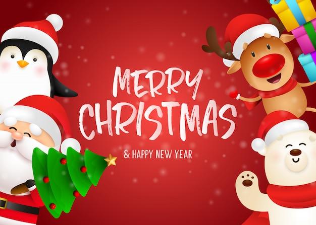 メリークリスマスのポストカードデザイン 無料ベクター