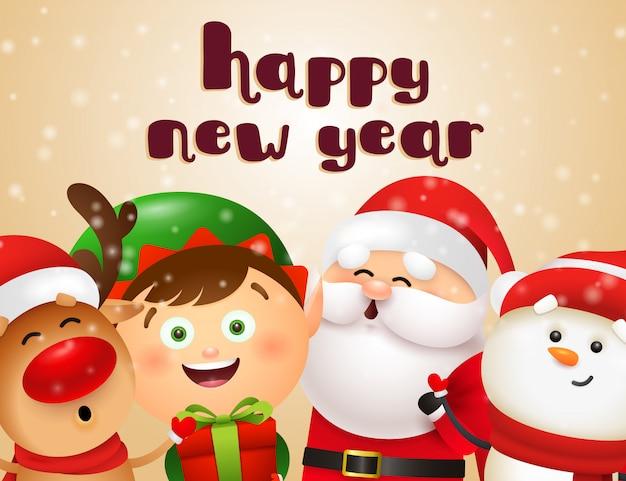 漫画のキャラクターと新年のはがきデザイン 無料ベクター