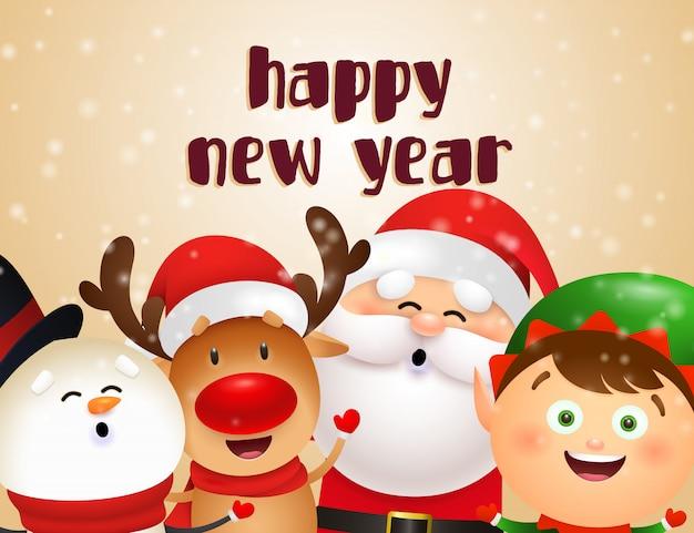 クリスマスのキャラクターと新年のはがきデザイン 無料ベクター