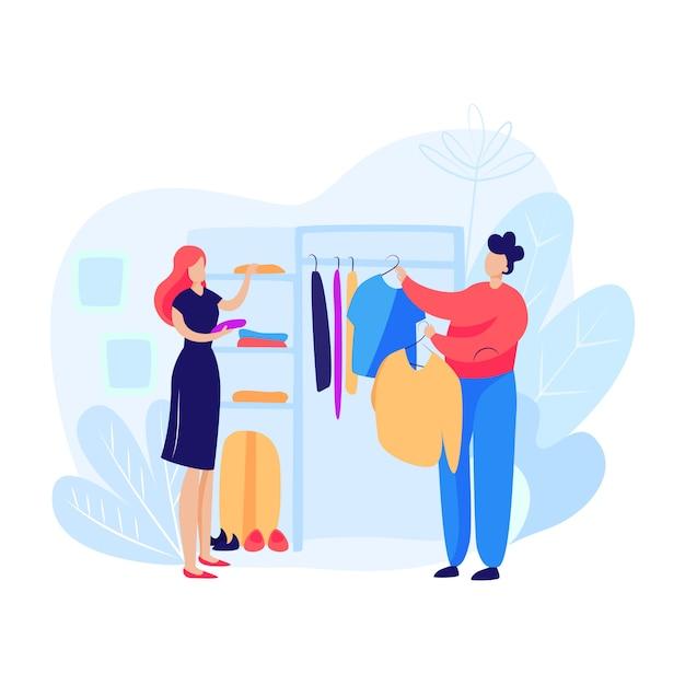 Женщина и мужчина, выбирая одежду Бесплатные векторы