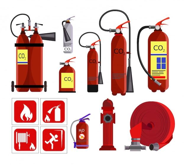 Набор иконок огнетушитель Бесплатные векторы