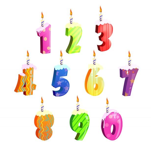 誕生日ケーキ番号のセット 無料ベクター