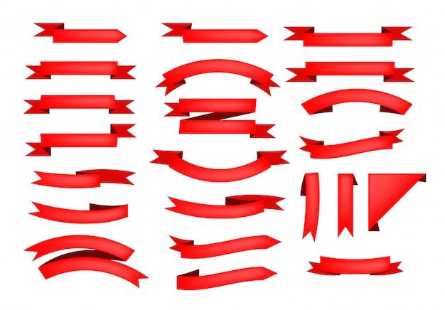 赤いリボンスクロールのセット 無料ベクター