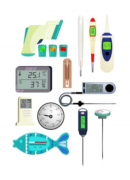 温度計のアイコンを設定 無料ベクター