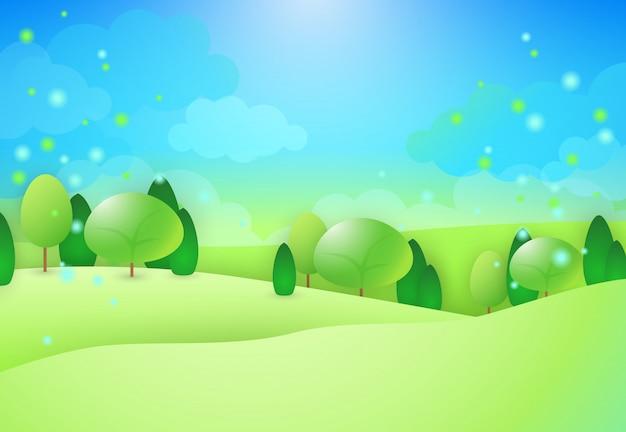 木と緑の丘 無料ベクター