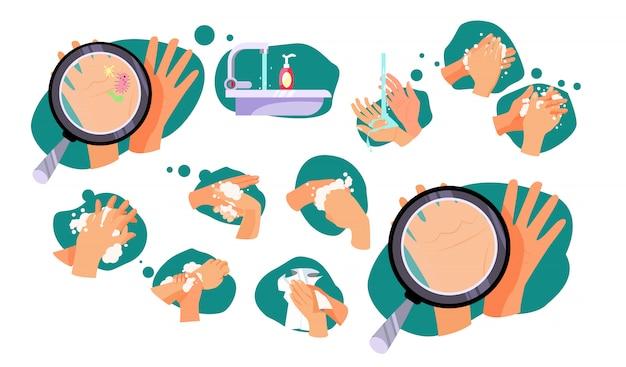 Набор правил, как мыть руки Бесплатные векторы