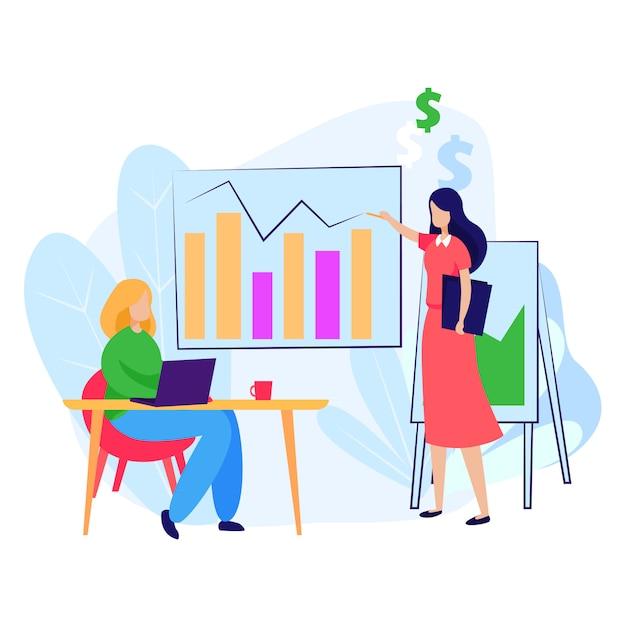 グラフをパートナーに説明するビジネス女性 無料ベクター