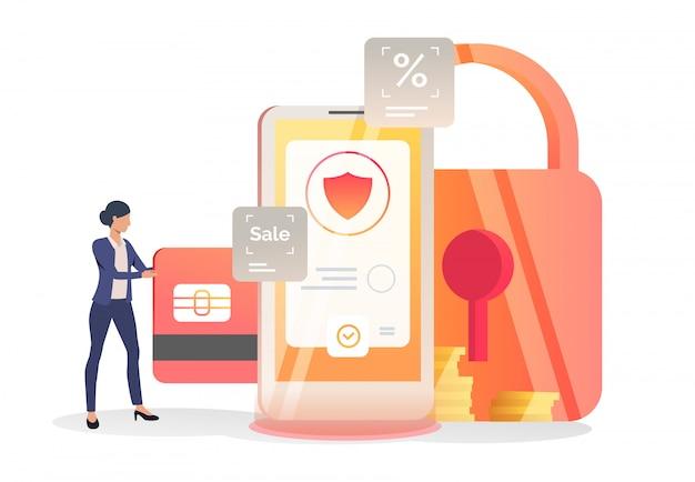 Деловая женщина вставляет кредитную карту в смартфон Бесплатные векторы