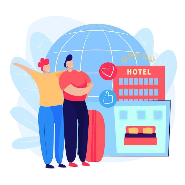カップル予約ホテルの部屋のウェブページ 無料ベクター