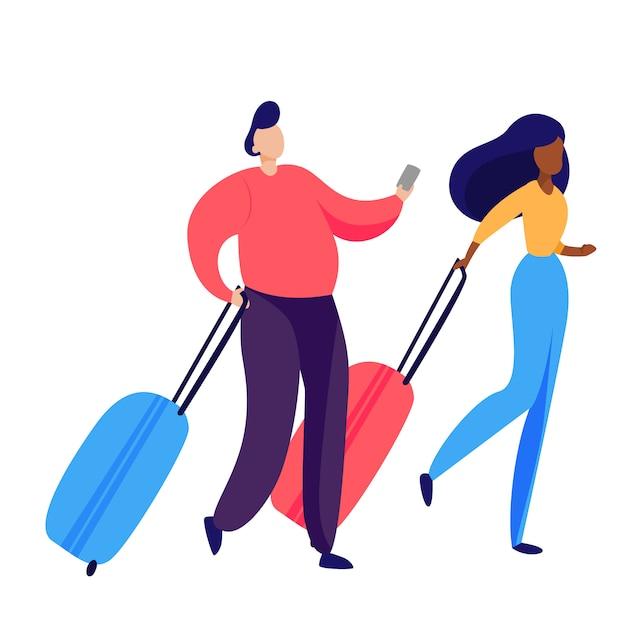 荷物を運ぶ乗客のカップル 無料ベクター