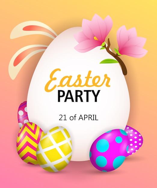 Пасхальная вечеринка надпись с ушками зайчика, яйца и цветы Бесплатные векторы