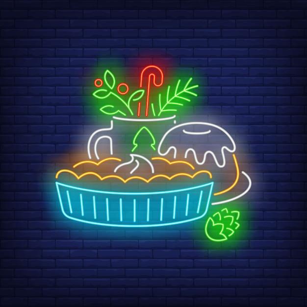 Рождественские торты и напитки неоновая вывеска Бесплатные векторы