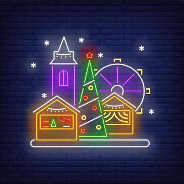Рождественская веселая ярмарка неоновая вывеска Бесплатные векторы