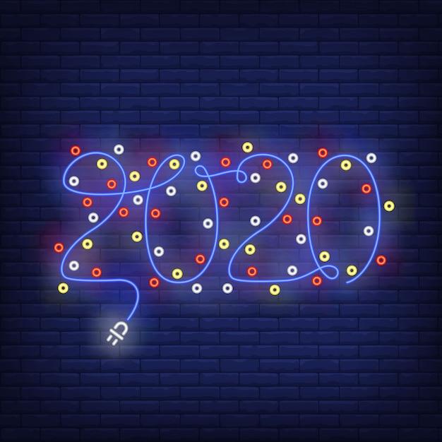 Рождественская гирлянда с цифрами неоновая вывеска Бесплатные векторы