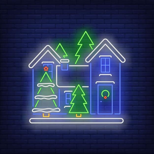 Рождественский дом неоновая вывеска Бесплатные векторы