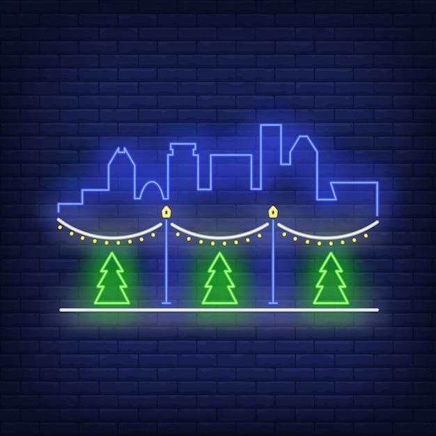 Уличное новогоднее украшение неоновая вывеска Бесплатные векторы