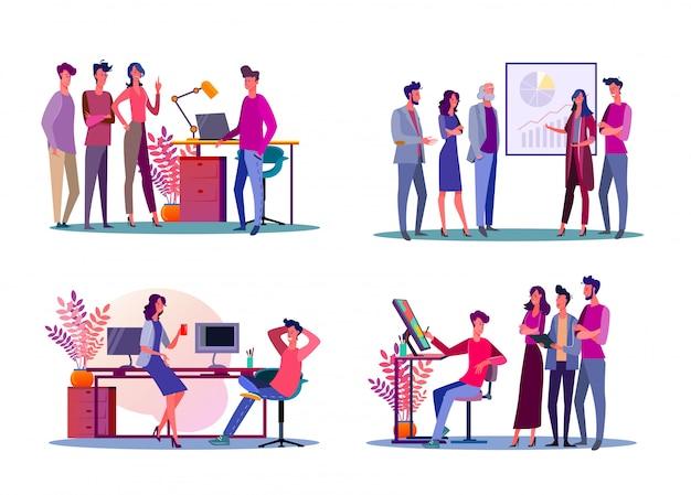 企業の会議のイラストセット 無料ベクター