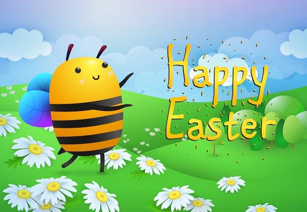 ハッピーイースターの文字と花と芝生の上の蜂 無料ベクター
