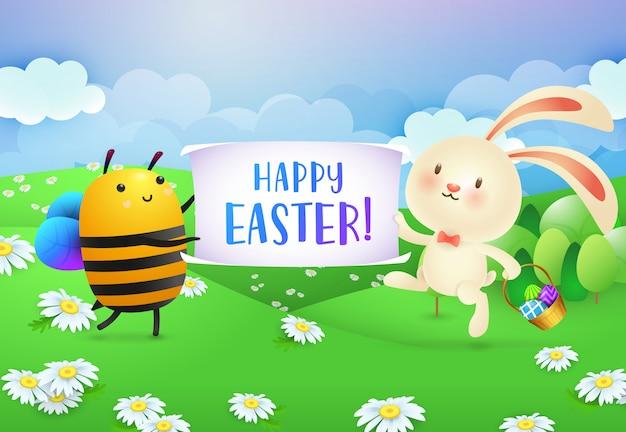 蜂とウサギによって保持されているバナーのハッピーイースターのレタリング 無料ベクター