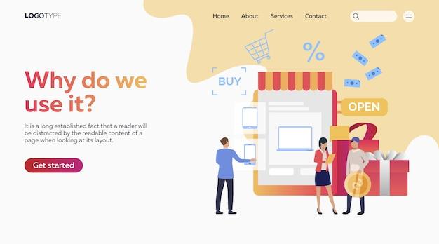 オンラインショッピングをする人々 無料ベクター