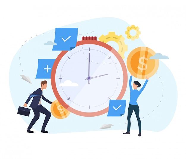 時計のウェブページにお金を投資する人々 無料ベクター