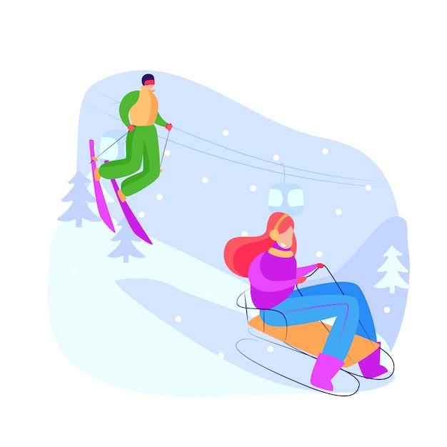 Туристы катаются на санках и катаются на горных лыжах Бесплатные векторы